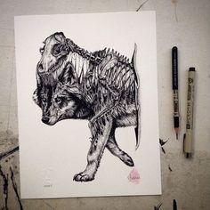 Düstere Skelett Zeichnungen von Paul Jackson