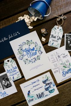 Blue and white painted calligraphy wedding invitation suite // French Flair: Josh and Vivian's Parisian-Themed Wedding at Grand Hyatt