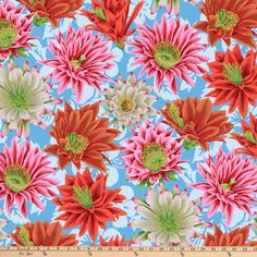 Kaffe Fabrics are so beautiful and will be great for that next project. Cactus Flower Multicolor Yardage by Kaffe Fassett for Free Spirit Fabrics is a large floral fabric that is spectacular. The flower is large in size and pink and orange in color. Free Spirit Fabrics, Thing 1, Floral Fabric, Cotton Fabric, Woven Cotton, Printed Cotton, Cactus Flower, Blue Backgrounds, White Flowers