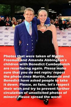 Come on, fellow Sherlockians, let's show that we can be well behaved and compassionate fans. They have a right to not have photos of their children on the internet. Please repin.