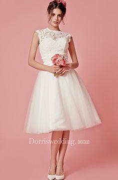 8b4daa5f919 Aristocratic Cap-sleeve High Neck Tea-length Dress With Lace Top