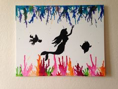 one of a kind Little Mermaid under the sea melted crayon silhouette painting with sebastian and flounder