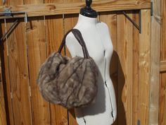 Real Taupe Mink Bag Handmade in USA SALE by DawnONeillDesigns