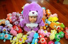 Gutting a large Care Bear to make a costume for your baby- pretty stinkin' cute I must say :)