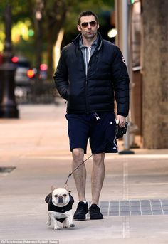 Man's best friend: Hugh Jackman was spotted taking his dog, Dali, out for a walk in New Yo...