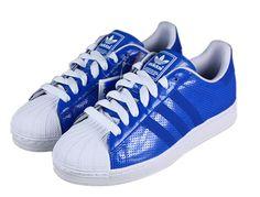 Adidas Superstar Shoes White Blue (Done) Adidas Superstar Shoes White, Zapatillas Adidas Superstar, Black And White Shoes, Blue Shoes, Hot Shoes, Running Shoes On Sale, Superstars Shoes, Adidas Fashion, Air Jordan Shoes