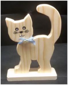 Holz Deko Katze