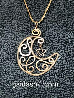 gaidash.com #vintage #Chain #Boho #Hammered #WireWeaved #barebronze #bronze looks like  #redgold #CrescentMoon and #Star #selestial #jewelry #Pendant.#Shaman #Magic / #Sacred / #Amulet /#Charm/#Talisman/#Necklace by #Gaidash on #Etsy #FreeShippingUS