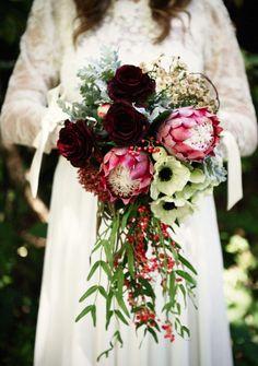 Amazing Silk flower wedding bouquet rustic bridal vintage boho hipster
