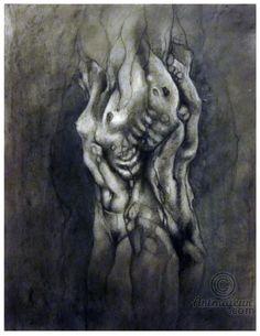 500€ Entrelacement homme et femme - Dessin,  50x65 cm ©2016 par aurore lephilipponnat -                                                                    Art figuratif, Nu, Femmes, Hommes, nudité, homme, femme, fusain, dessin