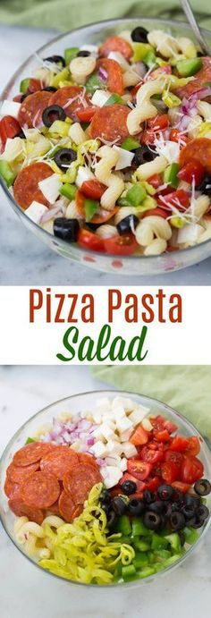 Pizza Pasta Salad loaded with pepperoni, olives, mozzarella and parmesan cheese, tomatoes, bell peppers and pepperocini. | tastesbetterfromscratch.com