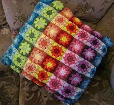 crocheted pillow, I love a rainbow!