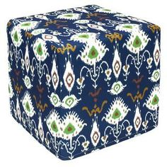 Blue Vision Outdoor Pouf Ottoman (India) | Overstock.com Shopping - Top Rated Ottomans