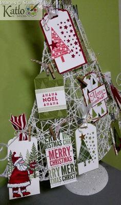 Stampin' Up! Gift Tag tree using: Santa's Gifts Stamp Set Lots of Joy stamp set Festival of trees stamp set