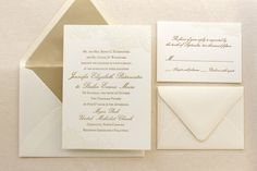 The Vintage Floral Lace Suite - Formal Letterpress Wedding Invitation Suite, Ivory, Gold, White, Script, Classic, Traditional, Simple