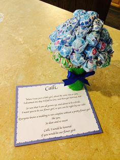 How I asked my flower girl. A cute poem and a bouquet of dumdum lollipops