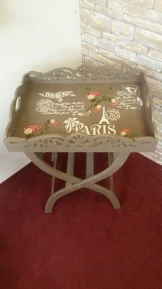 Decoupage Table, Decoupage Art, Diy Painting, Painting On Wood, Fun Projects, Wood Projects, Pallet Boxes, English Decor, Romantic Shabby Chic