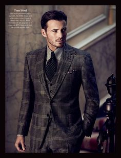Tom Ford- Grey wool plaid three-piece suit. 38S-46, $5995. Black and white check cotton Prince of Wales shirt. 15.5-17.5, $650. Houndstooth silk jacquard tie in charcoal. $275. Grey circle print silk pocket square. $185. #holtsmag