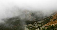 Slovakia, High Tatras. Kopské sedlo 1750 mnm. Beautiful nature and fog. Foggy wetter in mountains.