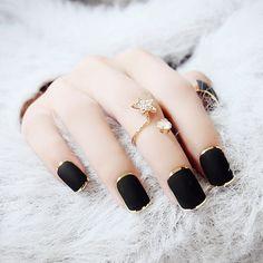 Nueva Moda Negro Oro Metálico Clavos Falsos de Prensa En Las Uñas de Acrílico Francés Uñas Postizas Con Pegamento 10 tamaños