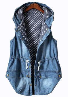 Light Blue Plain Drawstring Hooded Vest