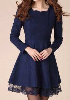 Stylish Sweetheart Neck Lacework Splicing Slimming Long Sleeve Women's DressVintage Dresses | RoseGal.com