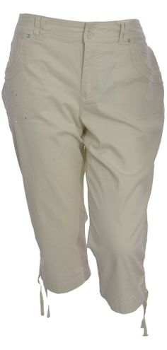 Gloria Vanderbilt Annaliese Capri Pants18W 22W Embellished Drawstring Hem NEW