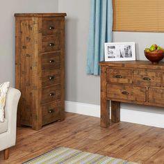 heyford rough sawn oak tallboy cabinet 6 drawer