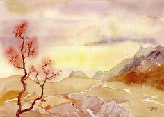 пейзаж акварель Осень в горах