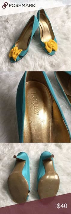 """J. Crew heels Gorgeous turquoise satin heels with yellow ribbon detail. GUC only worn a few times. Peep toe and ~3"""" heel J. Crew Shoes Heels"""