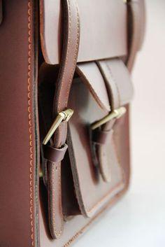 "Vintage Handmade Genuine Leather Briefcase Satchel Messenger 11"" MacBook Bag / Case in Brown"