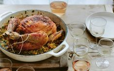 Stuffed Greek chicken with cayenne, oregano and orzo recipe