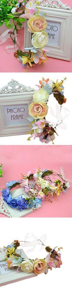 Vivivalue Floral Garland Flower Wreath Crown Headband with Ribbon Boho for Festival Wedding Beige