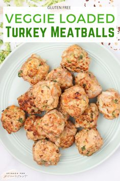 Veggie Loaded Baked Turkey Meatballs -- these healthy baked meatballs are so easy and so delish! Just toss them in the oven and you're good to go! Made without breadcrumbs (hello almond flour!) and full of vegetable goodness, it's the perfect recipe for a Turkey Recipes, Baby Food Recipes, Cooking Recipes, Healthy Recipes, Free Recipes, Veggie Recipes For Babies, Toddler Recipes, Healthy Toddler Meals, Loaf Recipes