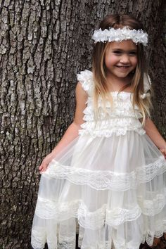 Lace flower girl dress, Boho flower girl dress by Gurliglam, $39.98