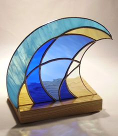 Pacific Wave freestanding stained glass art