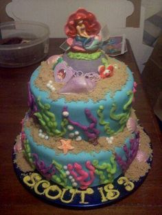 2 tier Little Mermaid cake