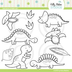 Digital dinosaur stamps - cute