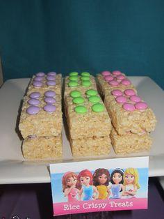 Lego Friends Rice Krispy treats with m's  #legofriends #birthday #party