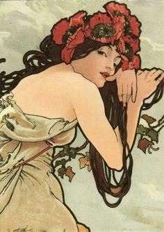 Postcrossing notes: Seasons: Summer (1896) - by Alphonse Mucha