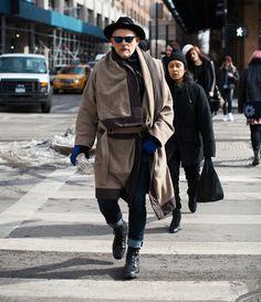 Coat jeans jacket hat beard old men chique streetstyle