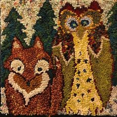 Winter Friends By Deanne Fitzpatrick Red Fox And Speckled Owl In The Wooded Forest