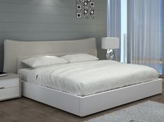 """Creative Furniture Solo Bed - MDF with fabric bed. DIMENSIONSKing Bed L80"""" x W99 2/5"""" x H42""""Queen Bed L80"""" x W82"""" x H42""""."""