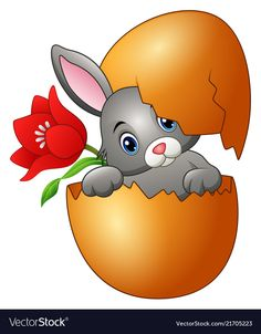 Easter bunny hatched from an egg with red flower Vector Image - Ostern Cute Easter Bunny, Happy Easter, Easter Funny, Funny Drawings, My Drawings, Easter Drawings, Funny Eggs, Picture Postcards, Easter Crafts For Kids