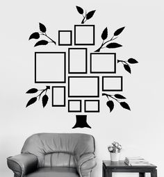 Vinyl Wall Decal Family Tree Frames For Photos Design for Living Rooms Stickers (810ig)