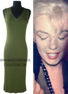 Marilyn Monroe's Personal Casual Summer Dress An olive green double-ply silk jersey sleeveless dress; Marilyn Monroe Outfits, Norma Jean Marilyn Monroe, Michael Carter, Women Names, Norma Jeane, Casual Summer Dresses, Angeles, My Idol, Olive Green