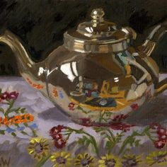 Silver Teapot on Embroidered Cloth by Angie Wood - Oil on board 6 x 8 inches Silver Teapot, Pot Still, Wood Oil, Anatomy Art, Art Studies, Learn To Paint, Magazine Art, Van Gogh, Metal