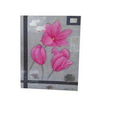 Tulipes roses sur fond gris