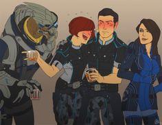 Garrus, Shepard, Kaidan, and Ashley take care of their emergency induction ports. Mass Effect Games, Mass Effect Art, Saga, Thane Krios, Kaidan Alenko, Dragon Age Funny, Mass Effect Universe, Commander Shepard, My Favorite Image