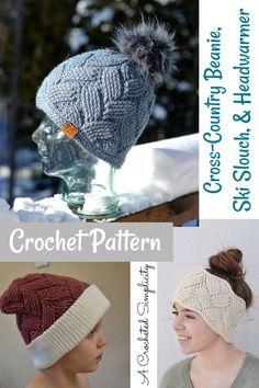 Crochet Pattern - Cross-Country Beanie, Ski Slouch, & Headwarmer by A Crocheted Simplicity  #crochethat #crochet